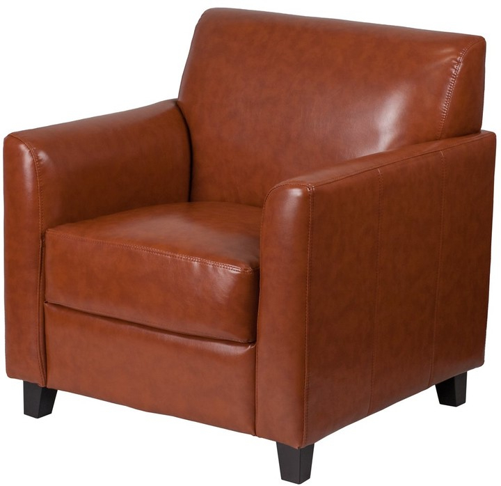 Bsd National Supplies Benville Modern Cognac Leather Guest Chair Intended For Jarin Faux Leather Armchairs (View 20 of 20)