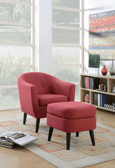 Burhall Barrel Chair And Ottoman Upholstery: Red #furniture With Regard To Artemi Barrel Chair And Ottoman Sets (View 4 of 20)