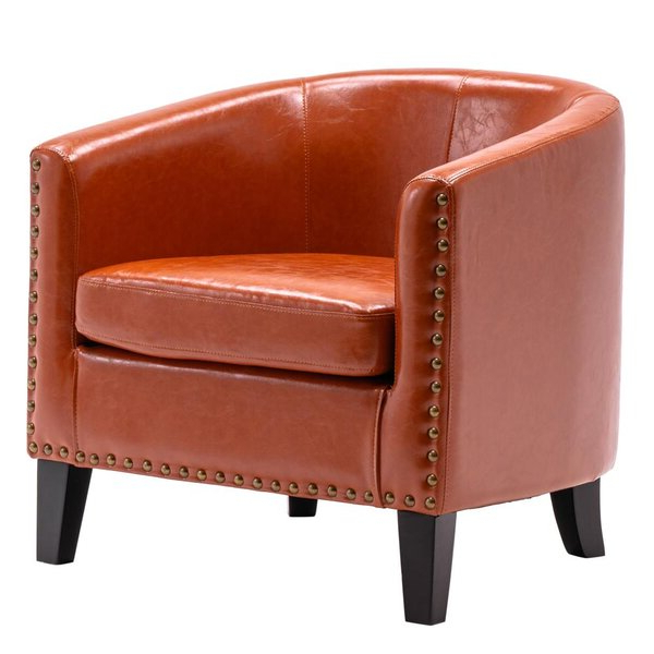 Burnt Orange Leather Chair For Gilad Faux Leather Barrel Chairs (View 2 of 20)