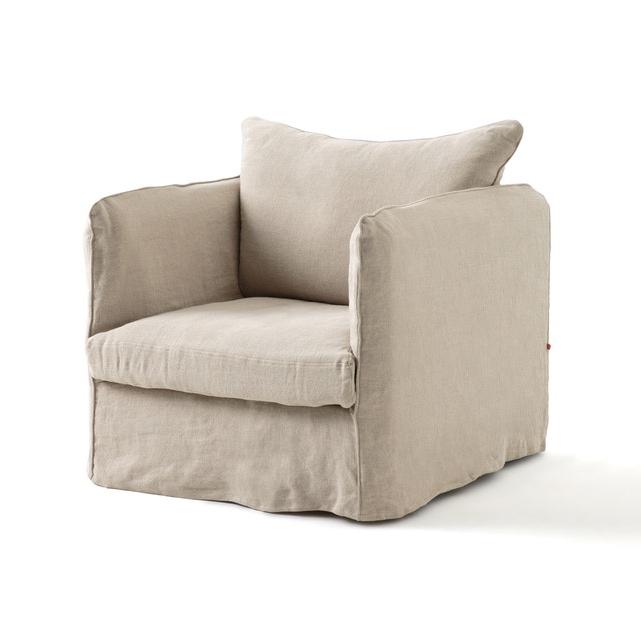 Cadeirão Fixo Neo Chiquito, Linho Enrugado Throughout Gallin Wingback Chairs (View 15 of 20)