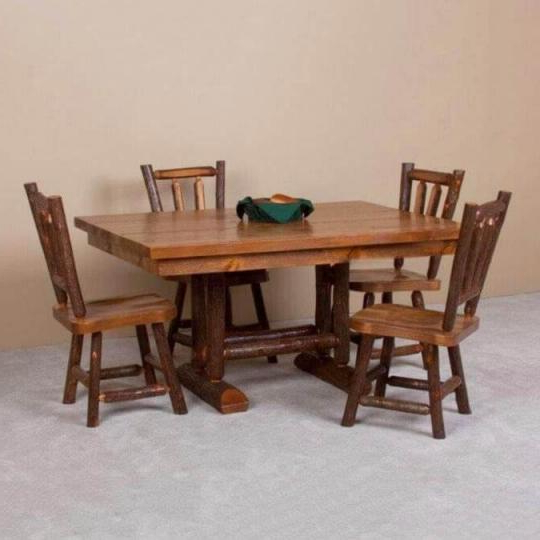 Caldwell Brook Trestle Dining Table And Chairs Regarding Caldwell Armchairs (View 18 of 20)
