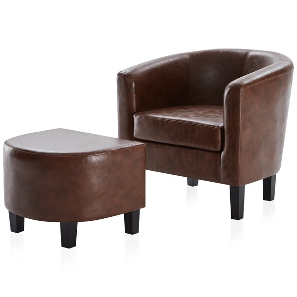 Caramel Leather Accent Chair In Gilad Faux Leather Barrel Chairs (View 4 of 20)