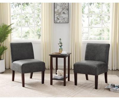 "Carentan 20"" 3 Piece Slipper Chair Set Regarding Alush Accent Slipper Chairs (set Of 2) (View 17 of 20)"