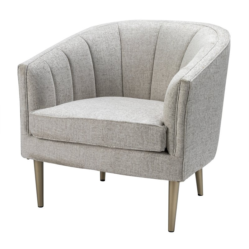 Chloé Metallic Leg And Linen Upholstered Channel Back Barrel Chair Regarding Chiles Linen Side Chairs (View 14 of 20)
