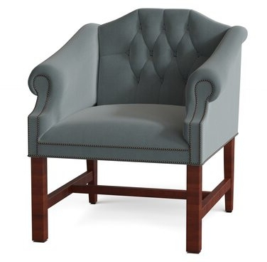Churchill Armchair Body Fabric: Angela Cream, Leg Color: Brown Cherry, Nailhead Detail: Old Gold With Regard To Chaithra Barrel Chair And Ottoman Sets (View 14 of 20)