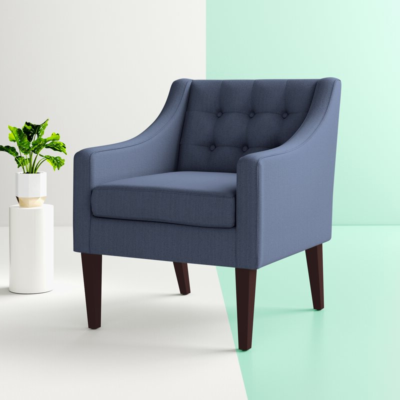 "Clopton 26"" W Tufted Polyester Armchair Throughout Leia Polyester Armchairs (View 6 of 20)"