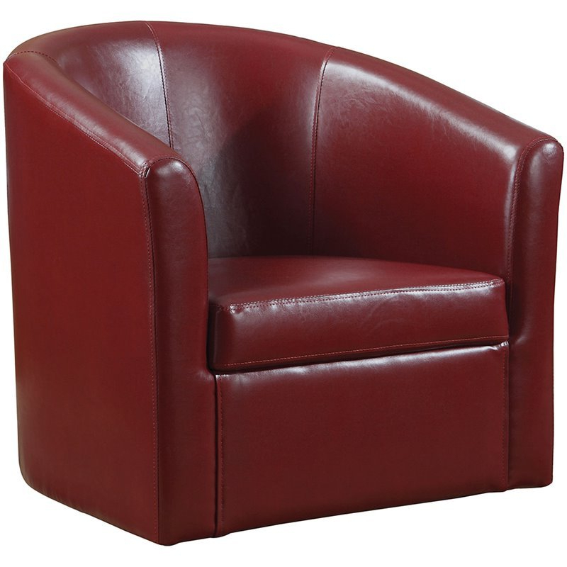 Coaster Faux Leather Swivel Barrel Back Accent Chair In Red In Faux Leather Barrel Chairs (View 6 of 20)