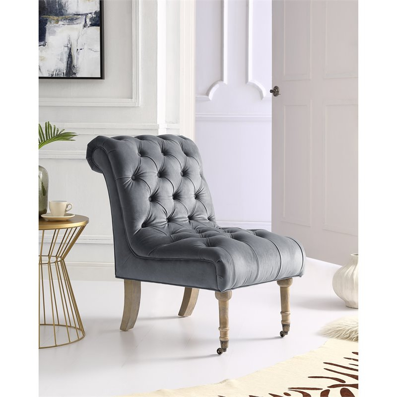 Cole Grey Velvet Accent Chair – Rolled Back – Armless – Button Tufted – Walmart Throughout Goodyear Slipper Chairs (View 19 of 20)