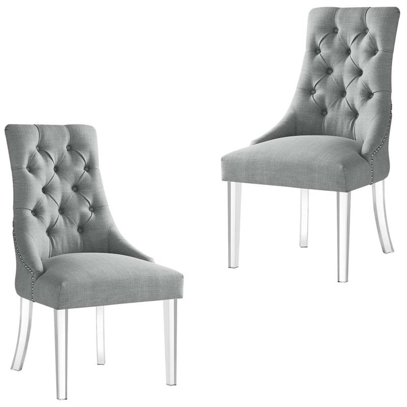 Colton Linen Fabric Dining Side Chair With Acrylic Legs Throughout Liston Faux Leather Barrel Chairs (View 18 of 20)