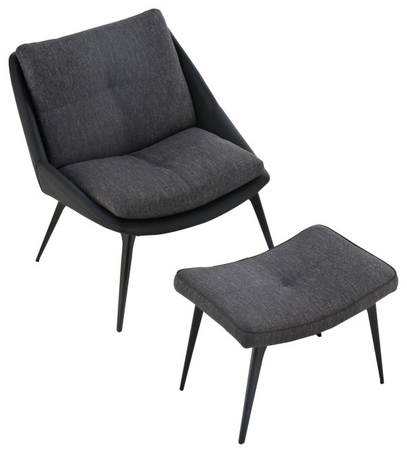 Columbus Lounge Chair And Ottoman, Dark Shadow Fabric With Regard To Columbus Armchairs (View 17 of 20)