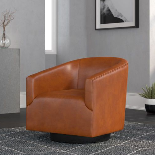 Comfort Pointe Gaven Caramel Wood Base Swivel Chair 8095 57 Intended For Hazley Faux Leather Swivel Barrel Chairs (View 16 of 20)