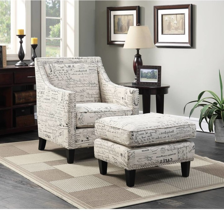 Copper Grove Thorsen Armchair & Ottoman In French Script Throughout Alexander Cotton Blend Armchairs And Ottoman (View 12 of 20)