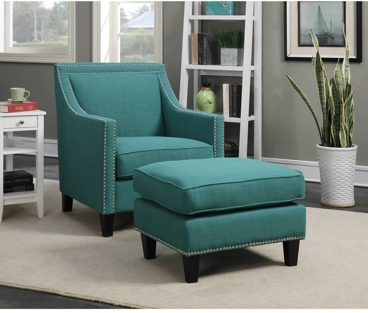Copper Grove Thorsen Contemporary Teal Armchair & Ottoman Set Throughout Starks Tufted Fabric Chesterfield Chair And Ottoman Sets (View 10 of 20)