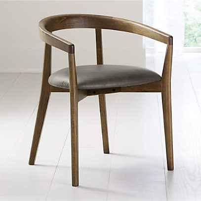 Cullen Shiitake Stone Round Back Dining Chair + Reviews Intended For Danow Polyester Barrel Chairs (View 19 of 20)