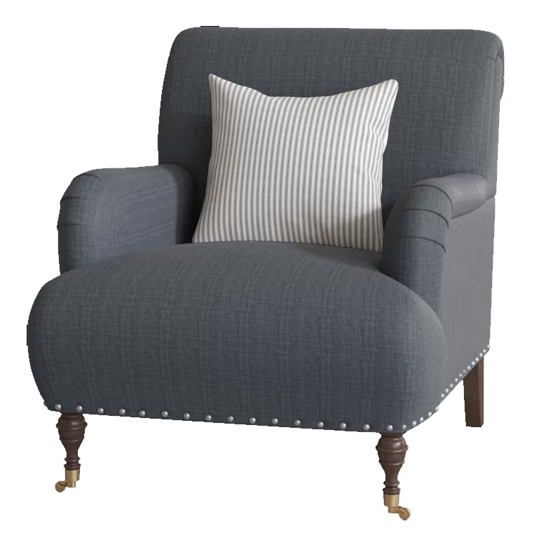 "Custom: Shephard 22"" Armchair Chair Fabric: Fandango Indigo, Pillow Fabric: Cruise Adrift, Leg: Black Walnut Brass With Regard To Portmeirion Armchairs (View 12 of 20)"