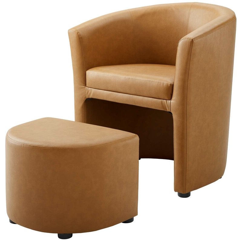 """Darvin 28"""" W Faux Leather Barrel Chair And Ottoman Throughout Hallsville Performance Velvet Armchairs And Ottoman (View 11 of 20)"""