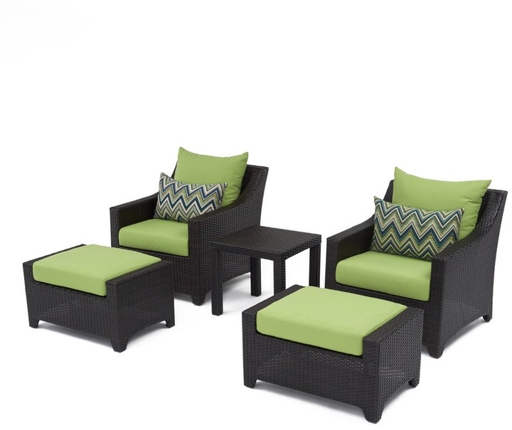 Deco 5 Piece Club Chair And Ottoman Set With Gingko Green Cushions Intended For Riverside Drive Barrel Chair And Ottoman Sets (View 17 of 20)