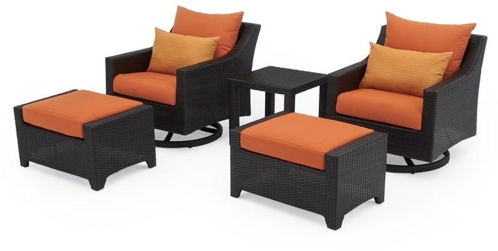 Deco 5pc Motion Club & Ottoman Set In Tikka Orange Regarding Riverside Drive Barrel Chair And Ottoman Sets (View 13 of 20)