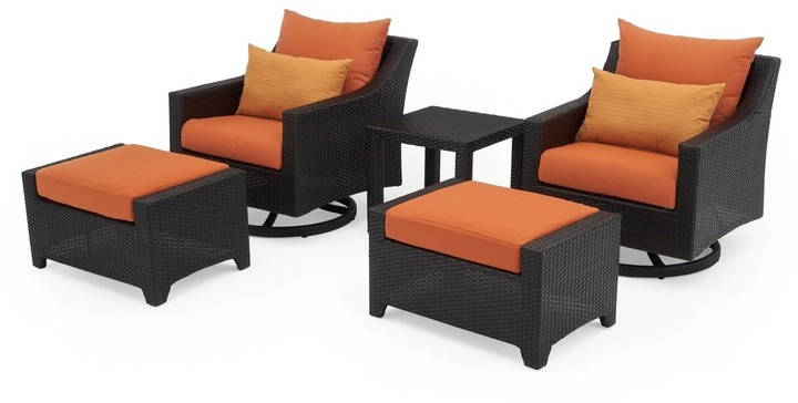 Deco 5pc Motion Club & Ottoman Set In Tikka Orange Regarding Starks Tufted Fabric Chesterfield Chair And Ottoman Sets (View 8 of 20)