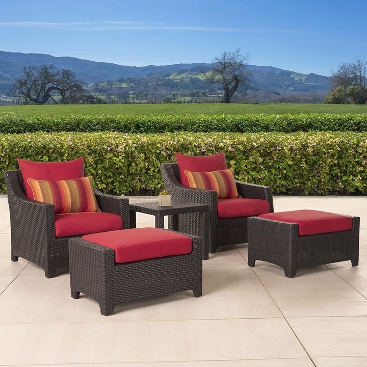 Deco Club Chair And Ottoman 5 Piece Set With Sunset Red Cushions With Riverside Drive Barrel Chair And Ottoman Sets (View 20 of 20)