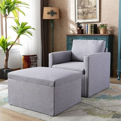 """Delyn 76"""" W Armchair And Ottoman Pertaining To Michalak Cheswood Armchairs And Ottoman (View 5 of 20)"""