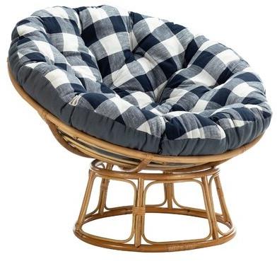 "Denver 45"" W Cotton Papasan Chair Fabric: Blue, Leg Color: Natural Within Decker Papasan Chairs (View 15 of 20)"