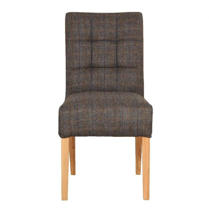 Dining Chair Colin In Harris Tweed Inside Carlton Wood Leg Upholstered Dining Chairs (View 16 of 20)