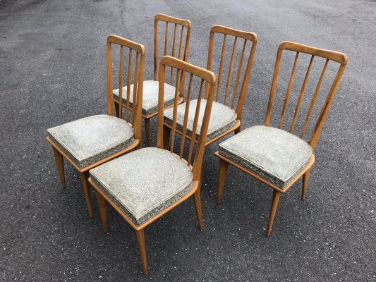 Dining Chairscharles Ramos, 1950s, Set Of 5 For Aime Upholstered Parsons Chairs In Beige (View 20 of 20)