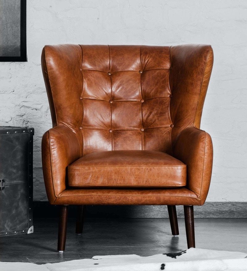 Dorchester Wing Chair In Vintage Brown Colour With Regard To Dorcaster Barrel Chairs (View 8 of 20)