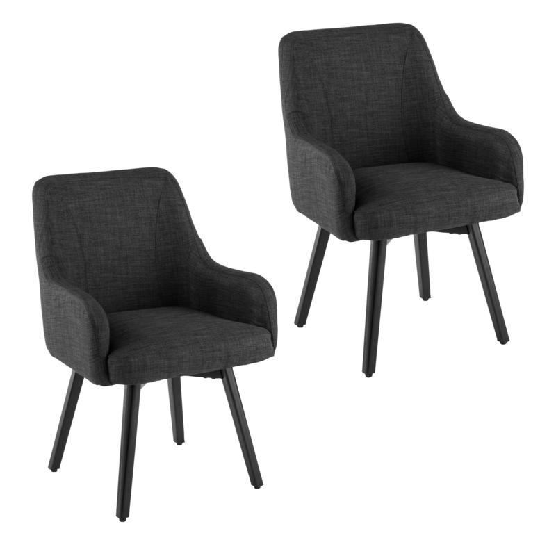 Draco Pair Of Upholstered Swivel Arm Chairs – Charcoal Within Draco Armchairs (View 5 of 20)