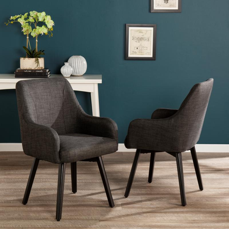 Draco Pair Of Upholstered Swivel Arm Chairs – Charcoal Within Draco Armchairs (View 2 of 20)