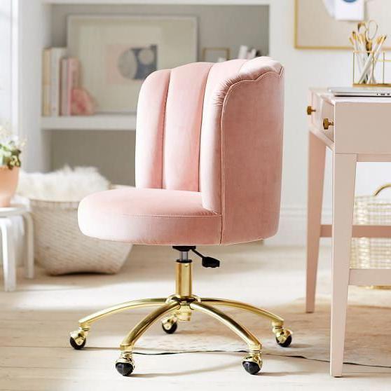 Dusty Rose Channel Stitch Task Chair #diyfurniturepallets With Regard To Grinnell Silky Velvet Papasan Chairs (View 13 of 20)