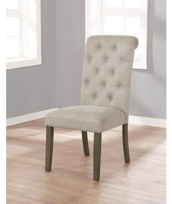 Dwyatt Tufted Parsons Chair Upholstery Color: Beige With Alwillie Tufted Back Barrel Chairs (View 18 of 20)