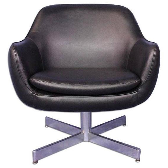 Eames Faux Leather Black Lounge Office Chair Armchair Side Mid Century Modern Inside Montenegro Faux Leather Club Chairs (View 16 of 20)