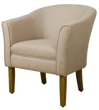 Earnistine Wood And Fabric Barrel Chair Upholstery Color: Cream, Leg Color: Brown Intended For Gilad Faux Leather Barrel Chairs (View 19 of 20)