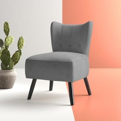 Easterling Velvet Slipper Chair Fabric: Gray Velvet Throughout Easterling Velvet Slipper Chairs (View 6 of 20)