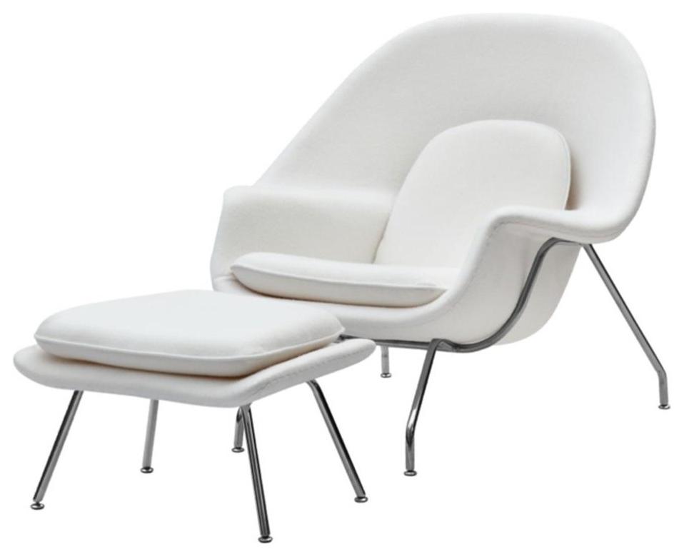 Eero Saarinen Style Womb Chair And Ottoman White, White In Artemi Barrel Chair And Ottoman Sets (View 18 of 20)
