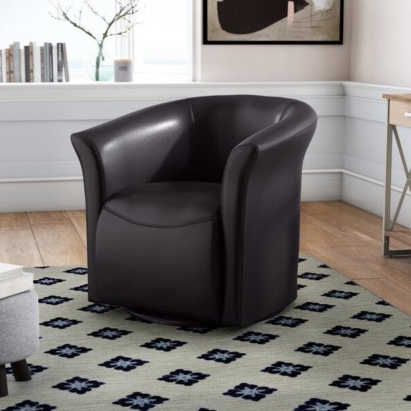 Elisha Swivel Barrel Chair Regarding Hazley Faux Leather Swivel Barrel Chairs (View 18 of 20)