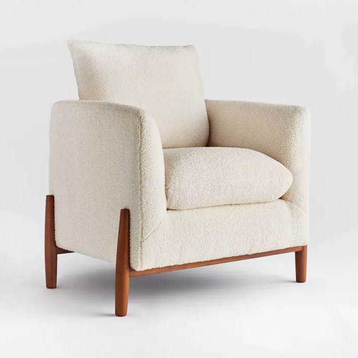 Elroy Sherpa Accent Chair With Wood Legs Cream – Threshold Throughout Oglesby Armchairs (View 13 of 20)