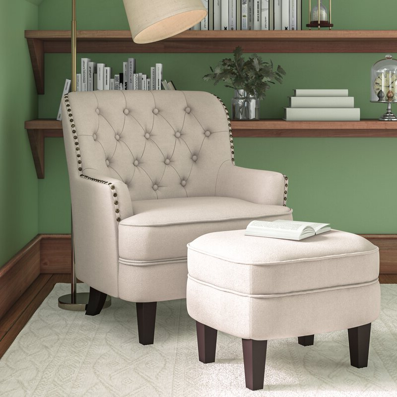 Elroy Wingback Chair And Ottoman Within Galesville Tufted Polyester Wingback Chairs (View 13 of 20)