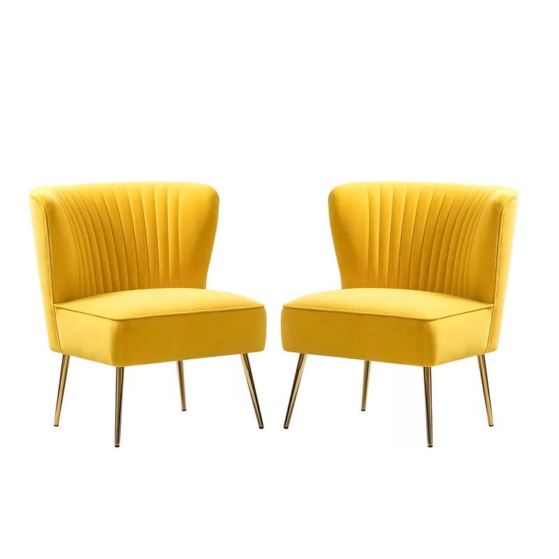 Erasmus Side Chair In 2020   Blue And Yellow Living Room Regarding Erasmus Velvet Side Chairs (set Of 2) (View 13 of 20)