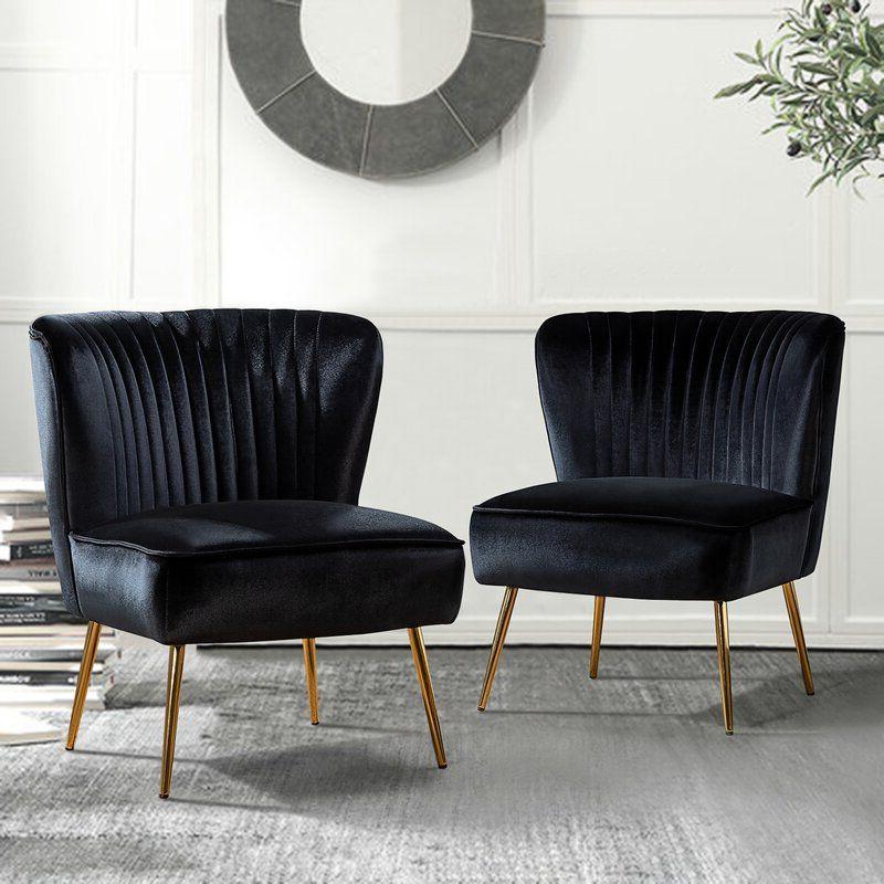 Erasmus Side Chair In 2021   Side Chairs, Black Velvet Chair Within Erasmus Velvet Side Chairs (set Of 2) (View 6 of 20)
