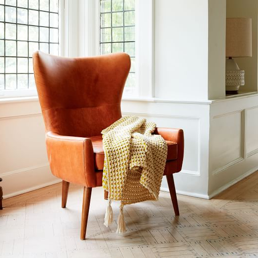 Erik Leather Wing Chair | Leather Wing Chair, Living Room With Marisa Faux Leather Wingback Chairs (View 11 of 20)