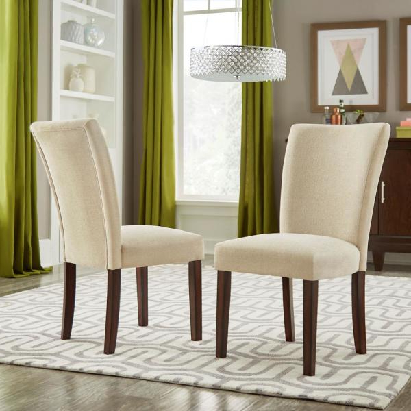 Espresso Beige Heathered Weave Parson Chair (set Of 2) Pertaining To Aime Upholstered Parsons Chairs In Beige (View 3 of 20)
