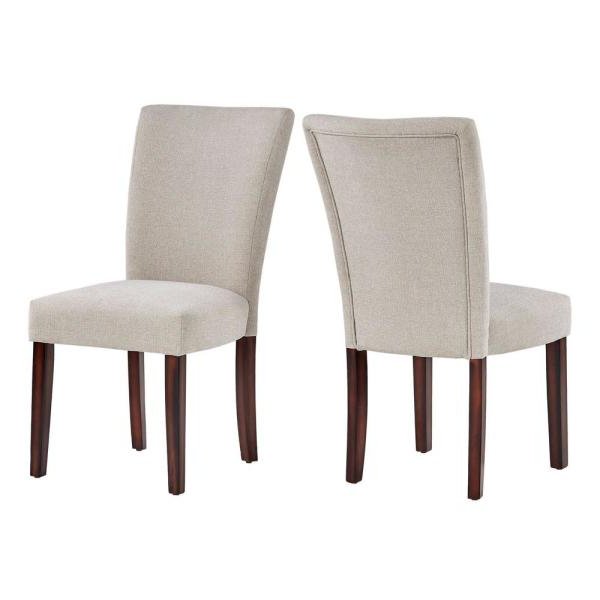 Espresso Beige Heathered Weave Parson Chair (set Of 2) Pertaining To Aime Upholstered Parsons Chairs In Beige (View 2 of 20)
