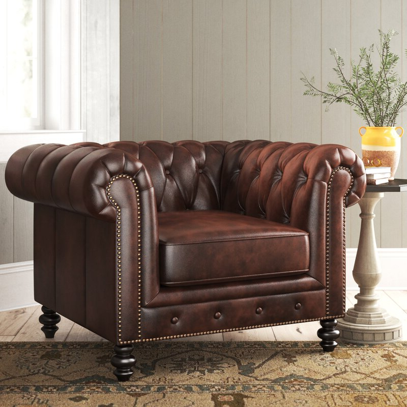 """Eufaula 44"""" W Tufted Top Grain Leather Chesterfield Chair Within Sheldon Tufted Top Grain Leather Club Chairs (View 7 of 20)"""