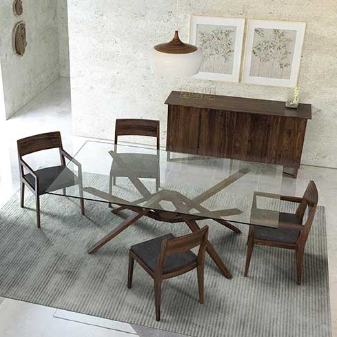 Exeter Glass Top Dining Table | Creative Classics In Exeter Side Chairs (View 16 of 20)