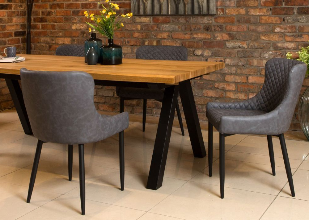 Ez Living | Table And Chair Ideas | Grey Faux Leather Dining Regarding Montenegro Faux Leather Club Chairs (View 20 of 20)