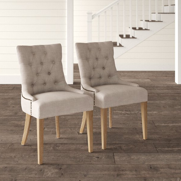 Fairman Tufted Upholstered Side Chair In Gray Within Madison Avenue Tufted Cotton Upholstered Dining Chairs (set Of 2) (View 5 of 20)