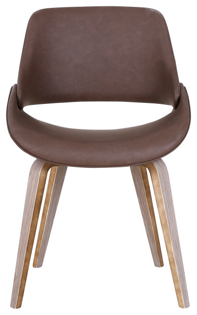 Faux Leather And Wood Accent Chair, Brown With Regard To Liston Faux Leather Barrel Chairs (View 6 of 20)